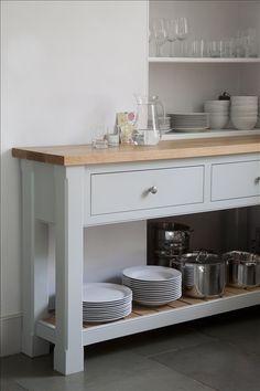 Side table finished in Farrow & Ball 'Light Blue'. European oiled oak worktop. www.landmarkkitchens.co.uk