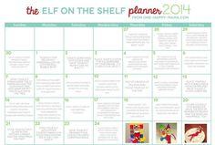 Printable Elf on the Shelf Calendar