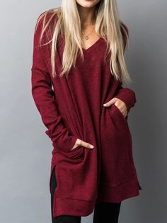 Ultra-Soft Casual Plus Size Tunic Sweatshirt Pullover – FabSweet mit pulli kombinieren herbst Ultra-Soft Casual Plus Size Tunic Sweatshirt Pullover Pullover, Types Of Sleeves, Shirt Style, Plus Size Fashion, High Neck Dress, Sweatshirts, Hoodies, Long Sleeve, Casual
