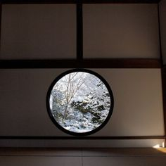 "Yesterday, Jan.19, it was a cold and snow day in Kyoto, my friends showed me a lot of beatiful photos from Instagram. it is one of them, the windows is ""Satori no Mado"" at Genko-an(Zen Tample) in Takagamine Kyoto. http://web.stagram.com/n/komakoh/"