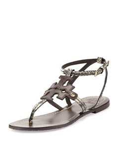 Phoebe Snake-Embossed Flat Sandal, Brown by Tory Burch at Neiman Marcus.