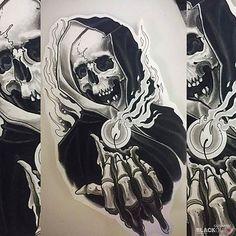 Skull Tattoo Design, Tattoo Design Drawings, Skull Tattoos, Tattoo Sketches, Black Tattoos, Body Art Tattoos, Sleeve Tattoos, Tattoo Designs, Graffiti Tattoo