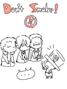 Smoker, Sanji und Crocodile müssen sich das Rauchen abgewöhnen und Chopper unterrichtet sie xD