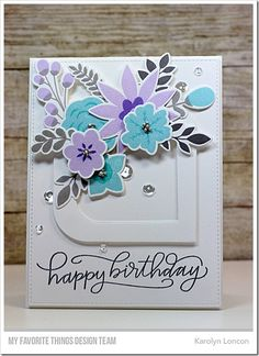 In Bloom Stamp Set and Die-namics, Mod Square STAX Die-namics, Handwritten Happiness Stamp Set - Karolyn Loncon  #mftstamps
