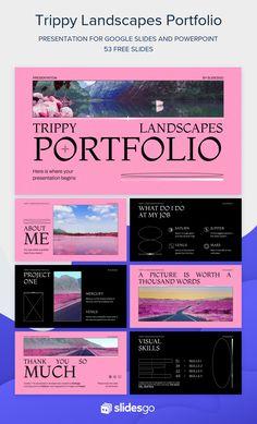 Portfolio Presentation, Presentation Slides, Business Presentation, Ppt Template, Templates, Graphic Design Lessons, Color Filter, Slide Design, Media Design