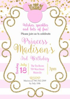 Invitación de Minnie princesa Birthday Party rosa oro