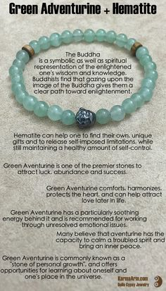 ~☆~ GREEN AVENTURINE comforts, harmonizes, protects the heart, and can help attract love later in life. It is one of the premier stones to attract luck, abundance and success. Green Aventurine has a particularly soothing energy behind it, and is recommended for working through unresolved emotional issues.  MAKE YOUR MARK: Green Aventurine + Hematite Buddha Yoga Mala Bead Bracelet