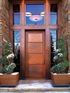 Sheet of copper + wooden front door = BEAUTIFUL!