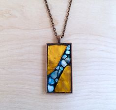 Mother of Pearl Necklace, Stained Glass Mosaic Pendant, Orange and Blue Necklace, Metallic Glass Pendant, Long Necklace, Antique Copper Tone by herleymosaics on Etsy https://www.etsy.com/listing/251899323/mother-of-pearl-necklace-stained-glass