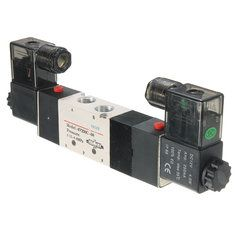 4V230C-08 DC 12V Double Head 3 Position 5 Way Pneumatic Solenoid Valve