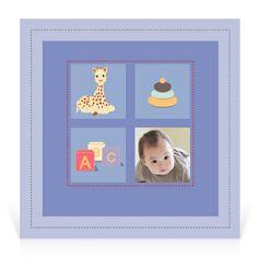 Faire-part naissance Sophie la girafe Mes joujoux - Cardissime - Les joujoux, le bleu…la photo de votre petit garçon à insérer. Une annonce personalisée et moderne.