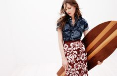 J.Crew Collection Tropical Sequin Skirt with Printed Chambray shirt, love this look