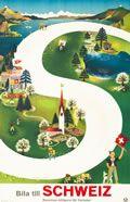 vintage poster, Bila Till Schweiz (Drive to Switzerland)