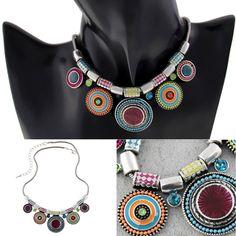 Mode Vintage Damen Nationale Stil Boho Wafer Anhänger Kette Halskette Schmuck FS…