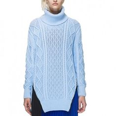Blue longline aran jumper - from Self Portrait, £125 | 50 of the cosiest jumpers to wear when its cold | Cosy winter jumpers | Winter style | Visit http://www.redonline.co.uk for more winter style inspiration.