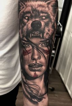 Board by – 9 pins wolf tattoo ideas Wolf Girl Tattoos, Tattoo Girls, Girl Face Tattoo, Wolf Tattoo Sleeve, Best Sleeve Tattoos, Tattoo Sleeve Designs, Tattoo Wolf, Leg Tattoo Men, Portrait Tattoo Sleeve