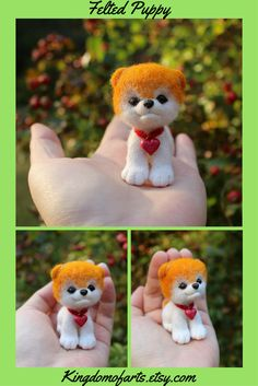 Boo the Pomeranian perhaps the most popular dog in the world, based purely on his looks. This needle felted figurine is exact copy of Boo. Cute puppy is made of 100% high quality merino wool. Eyes, nose, and heart are made of Polymer clay. ~  Needle felted animal Felted dog Wool dog Needle felted puppy Realistic dog toy Realistic pet toy Fairy house pet Miniature Pomeranian Boo Miniature Pomeranian, Pomeranian Boo, Miniature Dogs, Handmade Gifts For Men, Handmade Market, Etsy Handmade, Gifts For Kids, Handmade Items, Needle Felted Animals