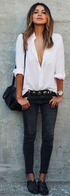 #outfits #black #fashion # Black jeans + classic plain white shirt + leather jacket/ bomber + Julie Sarinana. Jeans: J Brand, Shirt: Elliot, Shoes: Freda Salvador.