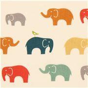 Tela orgánica de birch con elefantes de colores de EE. UU.