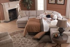 Attach a sleeper sofa to the Collins sectional for the ultimate Fall slumber.