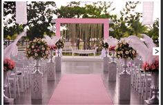 Wedding aisle flowers and diamonds