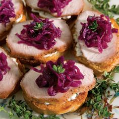 Pork Tenderloin Crostini with Sweet and Sour Red Cabbage