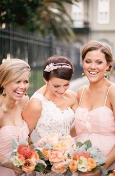 lace, vintage , New Orleans, Louisiana - like the contrast of coral/mint/teal color flowers against blush :)