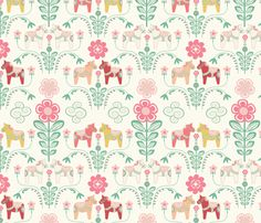 Colorful fabrics digitally printed by Spoonflower - dala_horse_pastel_rose ecru_M Cute Wallpaper Backgrounds, Cute Wallpapers, Spoon Flower, Horse Fabric, Cowgirl Birthday, Pastel Roses, Swedish Christmas, Baby Swaddle, Scandinavian Design