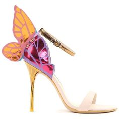 Sophia Webster Chiara Butterfly-Wing Leather Sandals ($745) ❤ liked on Polyvore featuring shoes, sandals, nude, nude shoes, multi color sandals, leather sole shoes, leather sandals and leather shoes