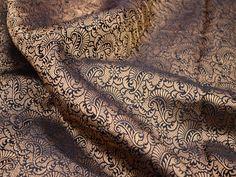 Brocade Fabric, Schwarz und Goldbrokat, Jacquard-Stoff, Kunstseidenstoff, Indian…