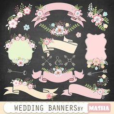"""Floral banners: """"WEDDING BANNERS"""" floral wedding banners, banner clipart, flower bouquet, wedding clipart, ribbons clipart, floral frames"""