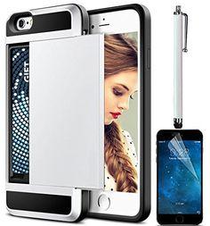 [Sunroyal] iPhone 6S ケース/ iPhone 6 ケース 4.7インチTPUソフトシリコン格納スペースカード収納カードホルダー付き二重構造傷止め防塵 落下防止高品質人気HD液晶保護フィルムタッチペン付アイフォン6s/6 用スマホンケースバックカバーホワイト