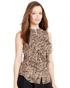 Ralph Lauren New Arrivals Ruffled Printed Top - Lauren Shirts & Blouses - RalphLauren.com