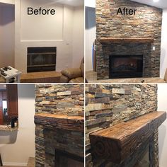 How To Distress Wood, Rustic Fireplaces, Stacked Stone Fireplaces, Distressed Fireplace, Fireplace Design, Remodel, Faux Stone Fireplaces, Fireplace, Wood Floating Shelves