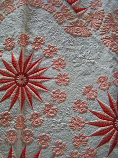 Traditional Quilt Red Pink and White Stars detail by godutchbaby, via Flickr