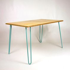 Dining Table, Birch Plywood, Hairpin Legs, Eames, Mid-century, Industrial