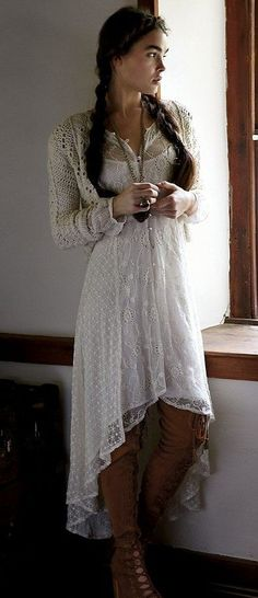 Love the style of this white lace dress! Plus, look at the cute off-white crochet sweater.