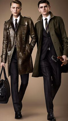 Alligator coats for sale Burberry Trench Coat, Leather Trench Coat, Leather Blazer, Leather Men, Leather Jackets, Fashion Moda, Suit Fashion, Mens Fashion, Sherlock Coat