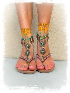 Yellow BIKINI BAREFOOT Sandals Toe Anklet Flower LEAF by GPyoga, $86.00