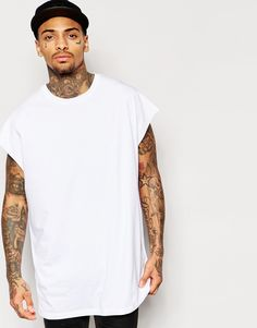 ASOS Super Oversized Sleeveless T-Shirt In White With Raw Sleeve Opening
