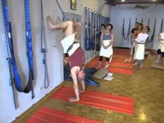 Using wall ropes for Urdhva Dhanurasana. Yoga Circle Chicago