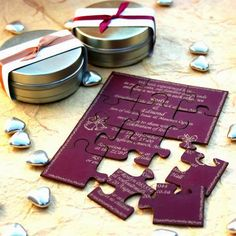 How cute is this personalized puzzle wedding Invitation ?
