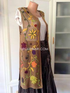 A-Line Wedding Dresses Collections Overview 36 Gorgeou… Freeform Crochet, Irish Crochet, Knit Crochet, Long Vests, Crochet Jacket, Jacket Pattern, Mode Outfits, Crochet Clothes, Boho Fashion
