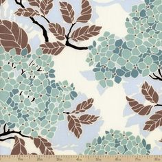 Birch Farm Hydrangea Cotton Fabric - Egg Blue  would be beautiful, A line