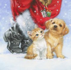 Christmas Scenes, Christmas Animals, Christmas Dog, Christmas Pictures, Christmas Crafts, Illustration Noel, Christmas Illustration, Illustrations, Christmas Drawing