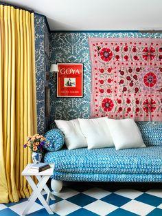 Notting Hill, Beata Heuman, Bed Is Calling, Custom Headboard, Living In London, Turbulence Deco, Long Sofa, Green Sofa, Decoration Originale