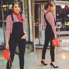 Get this look: http://lb.nu/look/7862210 More looks by Stephanie Ka: http://lb.nu/vejadu Items in this look: Cheap Monday Dungarees, Comme Des Garçons Striped Shirt, Zara Bandana, Valentino Bag, Christian Dior Heels #casual #chic #street #dungarees #onesie #onepiece #latzhose #jeans #denim