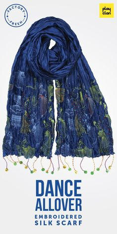 Crinkled embroidered cotton silk scarf with eclectic tassels. Available at www.theplayclan.com -  Brahma conceived it, Bharata Muni wrote it and celestial dancers performed it. Inspired by the ancient Indian treatise on the performing arts 'Natya Shastra', we presents 'Nritya' or 'Dance'– an exploration of Indian classical dance. Through its iconic graphic sensibility, Play Clan unravels this rich theme in a new dimension, drawing out the rasas where symbolism of dance plays with graphic…