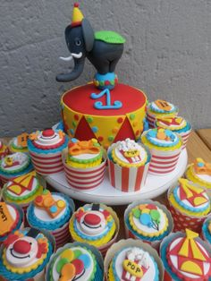 Birthday Cakes - Carnival themed cake and cupcakes