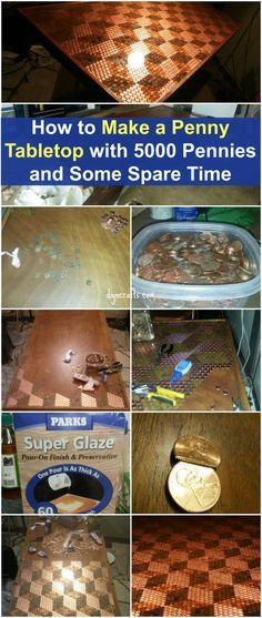 How to Make a Penny Tabletop with 5000 Pennies and Some Spare Time - DIY &. Diy Projects To Try, Home Projects, Home Crafts, Diy And Crafts, Craft Projects, Diy Home Decor, Do It Yourself Furniture, Do It Yourself Home, Diy Furniture